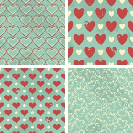 A set of four seamless Valentines Day patterns in vintage style. Vector