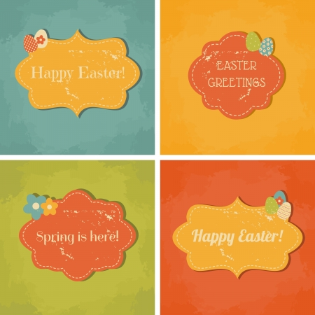 A set of four retro greeting cards for Easter  Stock Vector - 17928713