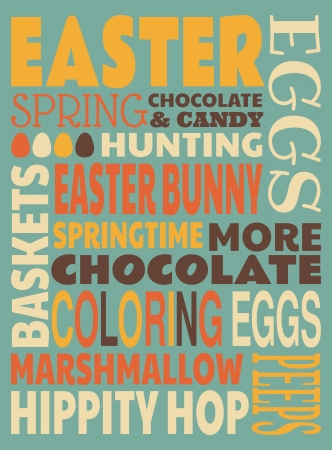 Retro typographic design for Easter greeting card