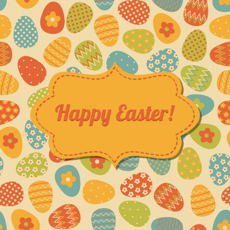 Retro style design for Easter greeting card  The pattern in the background is seamless  Vector
