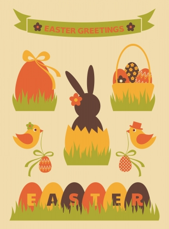 A set of cute Easter design elements  Vector
