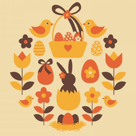 A set of cute Easter design elements  Vector