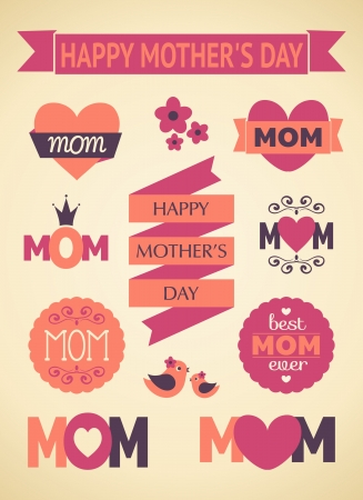 mothers day: A set of cute design elements for Mother s Day