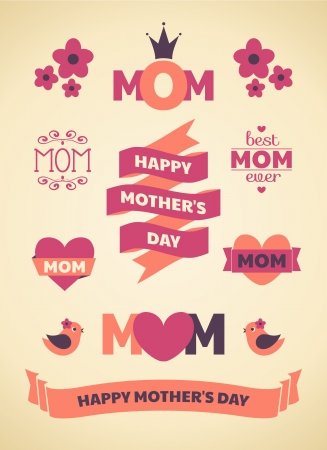 mothers day background: A set of cute design elements for Mother s Day