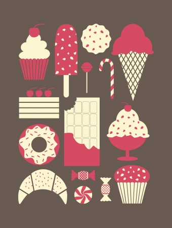 A set of retro style dessert icons. Vector