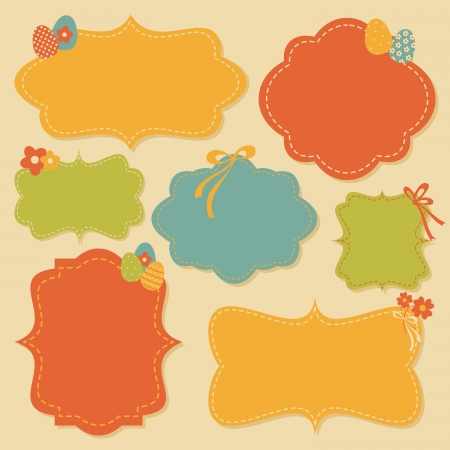 A collection of cute Easter-themed labels in bright colors. Stock Vector - 18156342