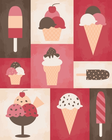 ice cream scoop: Retro style poster with different kinds of ice cream.