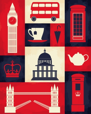 london tower bridge: Retro style poster with London symbols and landmarks.