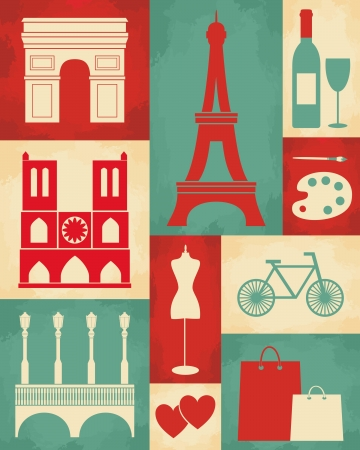 history architecture: Retro style poster with Paris symbols and landmarks.