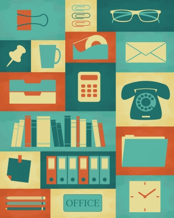 Retro style poster with different office items. Vector