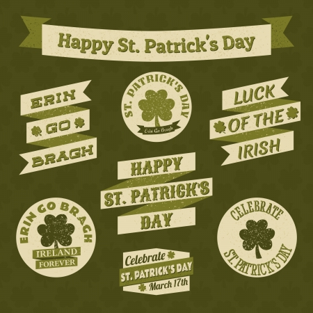 st patricks day: A set of banners and badges for St. Patricks Day.