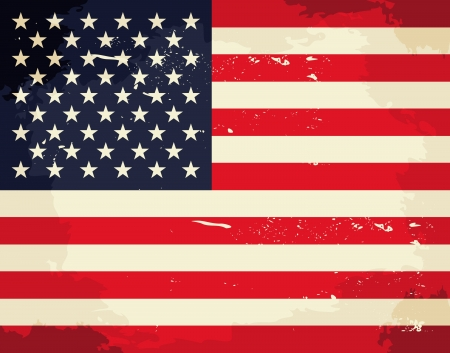 us grunge flag: Vintage USA flag. Illustration
