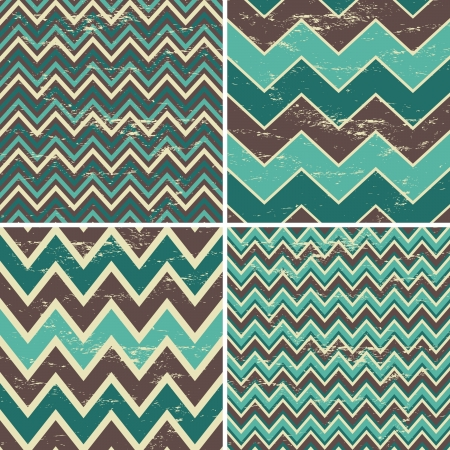 herringbone background: A set of four seamless chevron patterns in vintage style. Illustration