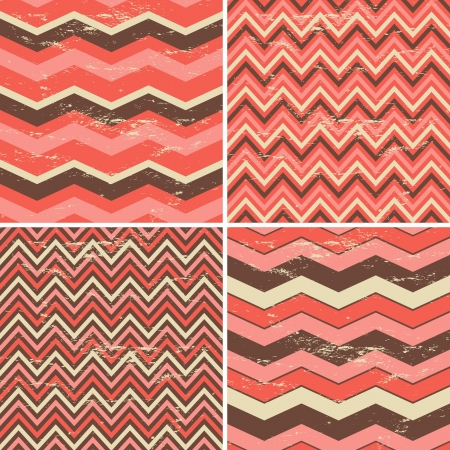 zigzag: A set of four seamless chevron patterns in vintage style. Illustration
