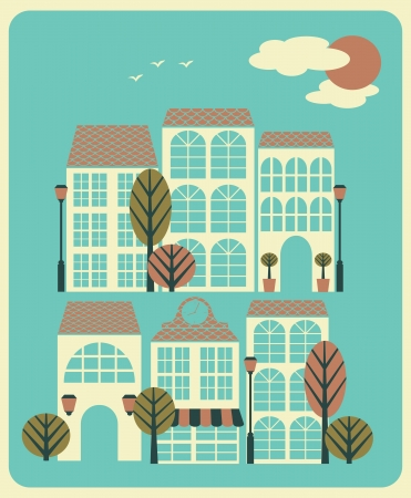 Illustration of a quiet neighbourhood with houses, trees and street lights. Stock Vector - 18420243