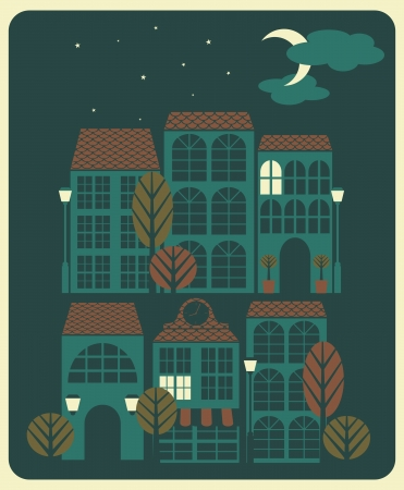 Illustration of a quiet neighbourhood with houses, trees and street lights at night. Illustration