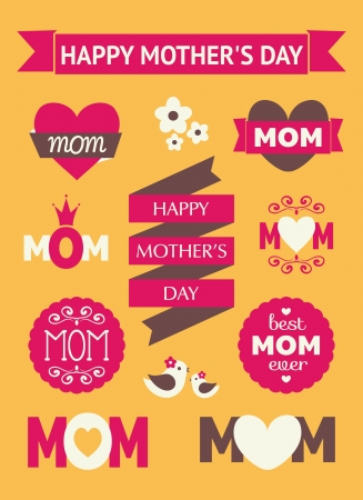 A set of cute Mothers Day design elements. Vector