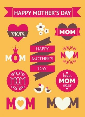 Um conjunto de elementos de design do dia das mães bonito.