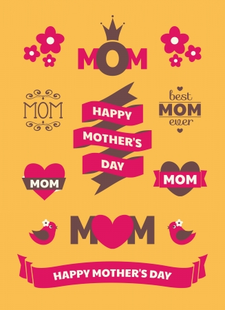 mothers: A set of cute Mothers Day design elements.