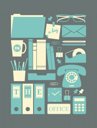 Office items: Un conjunto de iconos de estilo retro de oficinas en colores pastel. Vectores