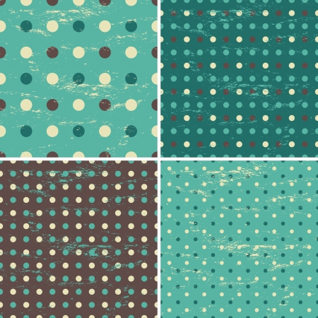 A set of four seamless polka dot patterns in vintage style. Vector