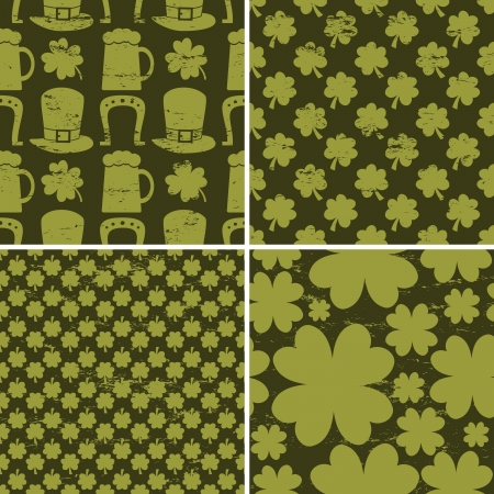 A set of four seamless St. Patrick's Day patterns in vintage style. Vector