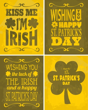A set of four retro St. Patricks Day cards. Vector