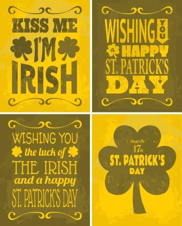 st: A set of four retro St. Patricks Day cards.