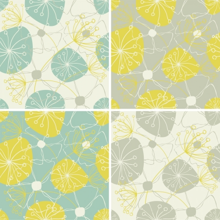 wallpaper pattern: A set of four seamless floral patterns.