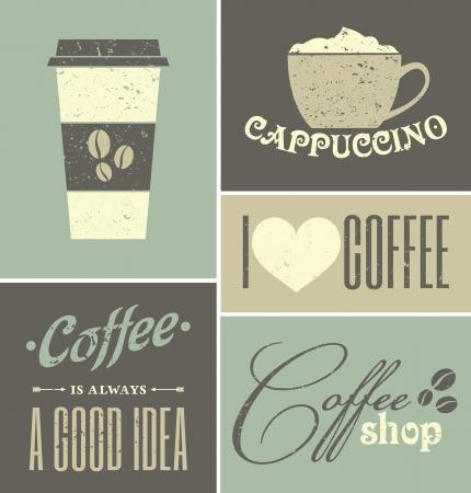 レトロなデザイン コーヒー ポスターのセット。