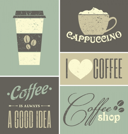 A set of retro design coffee posters. Vector