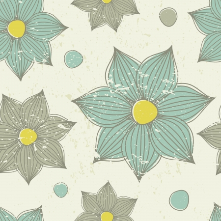 Vintage seamless pattern with hand drawn flowers. Vector
