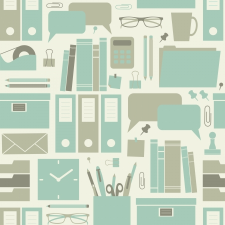 Seamless pattern with office related items.  Vector
