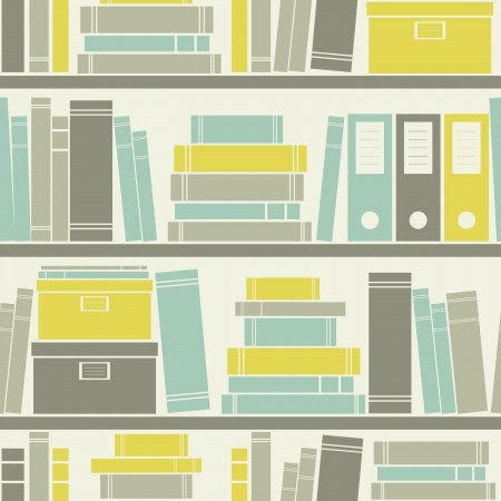 stacked: Seamless pattern with books on a bookshelf.
