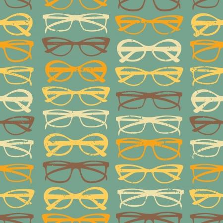 fashion bril: Vintage stijl naadloos patroon met kleurrijke zonnebril. Stock Illustratie