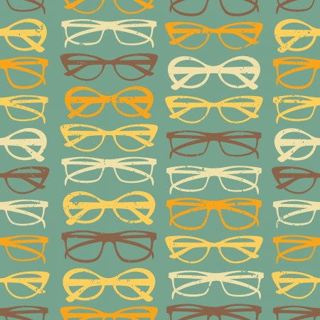 glass texture: Vintage style seamless pattern with colorful sunglasses. Illustration