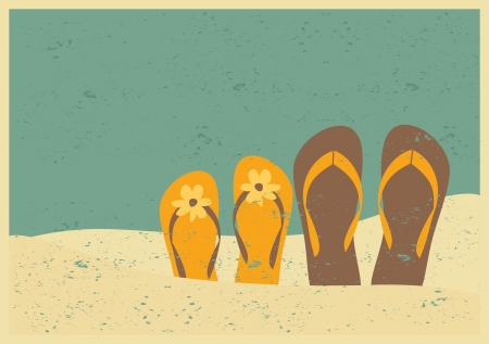 Vintage style illustration of two pairs of flip flops on the beach. Vector