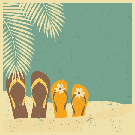 postcard background: Vintage style illustration of two pairs of flip flops on the beach.