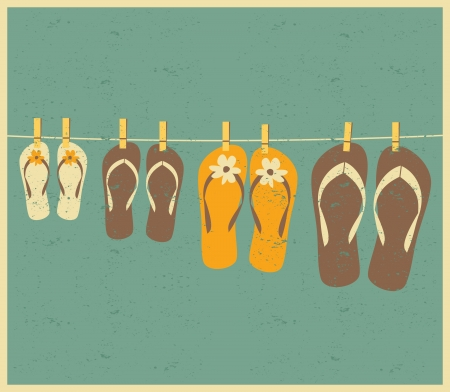 vintage postcard: Vintage style illustration of four pairs of flip flops. Family vacation concept. Illustration