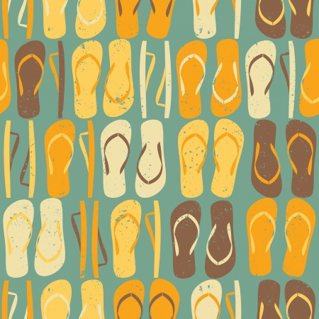 to flop: Vintage style seamless pattern with colorful flip flops.