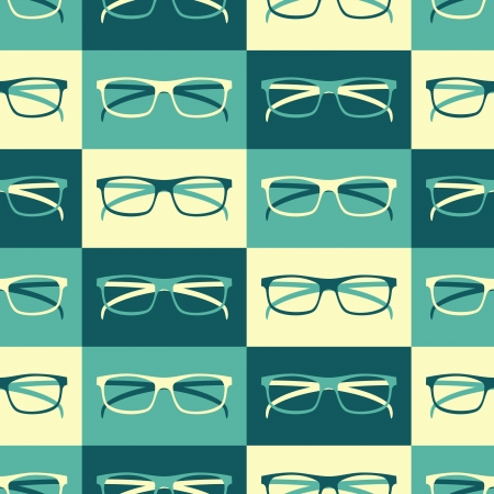 optical glass: Seamless pattern with retro eyeglasses