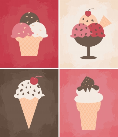A collection of four ice cream cards  Vector