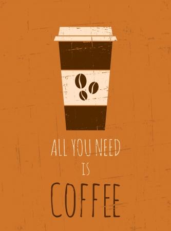 grano de cafe: Cartel estilo vintage con una taza de caf�