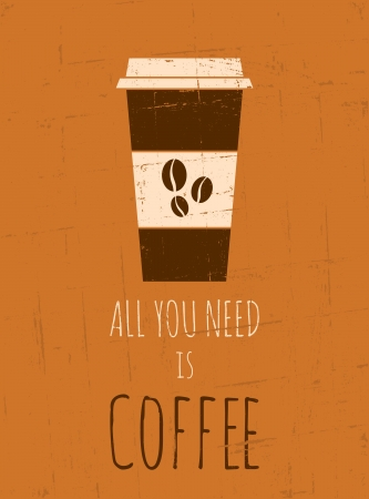 Vintage style poster with a cup of coffee  Vector