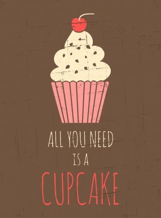 allen: Vintage stijl poster met cupcake