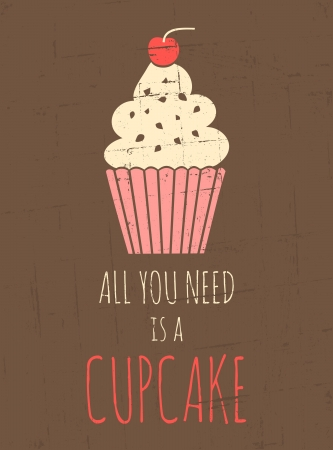 frosting: Vintage style poster with cupcake  Illustration