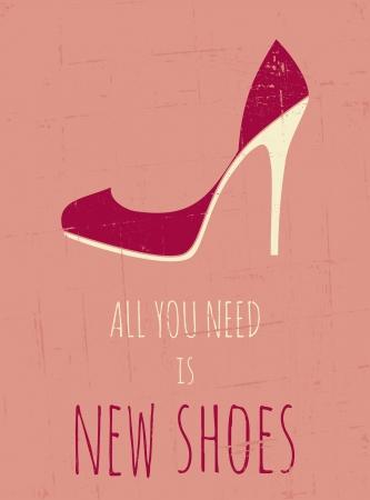 allen: Vintage stijl poster met elegante schoenen met hoge hakken Stock Illustratie