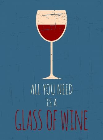 Poster do estilo vintage, com um copo de vinho tinto Ilustração