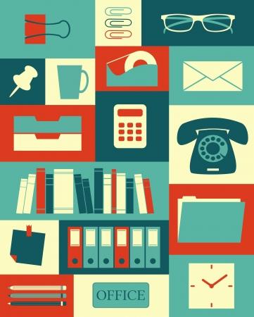 articulos oficina: Cartel de estilo retro con diferentes artículos de oficina