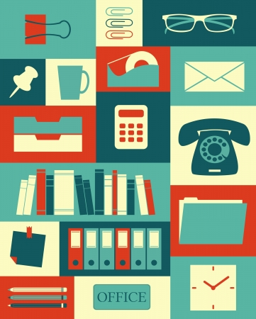 office supply: Retro style poster with different office items  Illustration